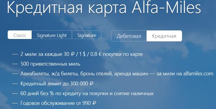 """Кредитная карта """"Alfa-Miles"""""""